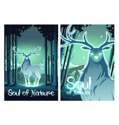 Soul nature cartoon poster magic deer in forest vector