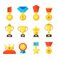 sport trophy award gold championship goblet and vector image