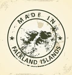 Stamp with map of Falkland Islands vector image