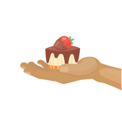 sweet cupcake with chocolate and strawberry for vector image