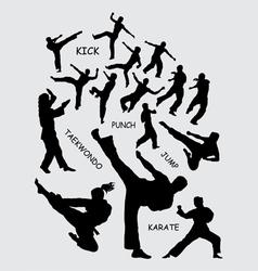Taekwondo martial art silhouettes vector
