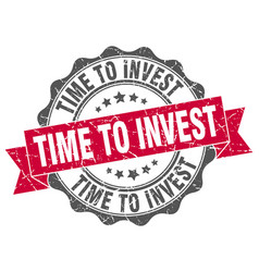 Time to invest stamp sign seal vector