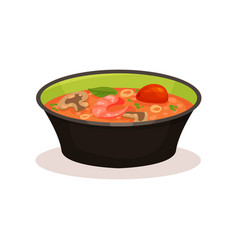 Tom yam kung spicy soup thai cuisine vector