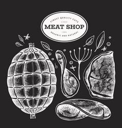 vintage meat on chalk board hand drawn ham ham vector image