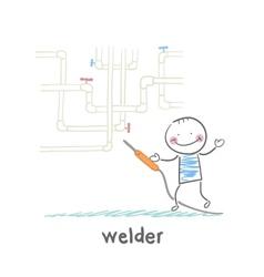 Welder near pipes with welding machine vector