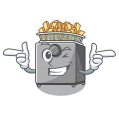 Wink character deep fryer on restaurant kitchen vector