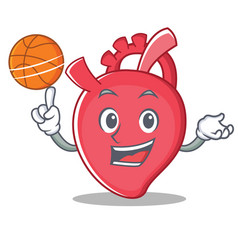 With basketball heart character cartoon style vector