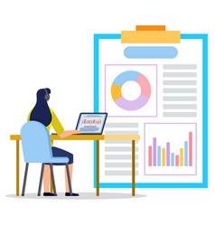Woman analyzing information on clipboard vector