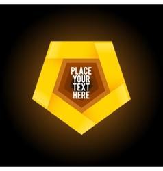Yellow penthagon shape on dark background vector image