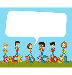 Back to school kids over text with social bubble vector image
