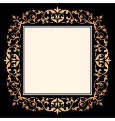 Black background with gold vintage ornament vector image