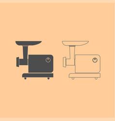 electric meat mincer dark grey set icon vector image vector image