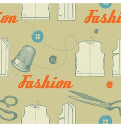 fashion background with scissors and buttons vector image