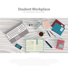 Flat design student workspace on wooden table vector image