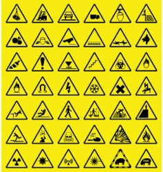 hazard sign collection vector image vector image