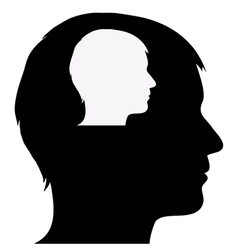Male silhouette in male silhouette vector image