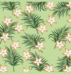 plumeria flower tropical leaves seamless pattern vector image