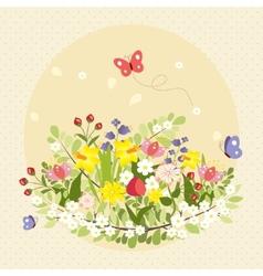 Spring Butterflies Flowers Art Colorful Vintage vector image vector image