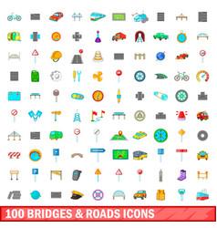 100 bridges and roads icons set cartoon style vector image