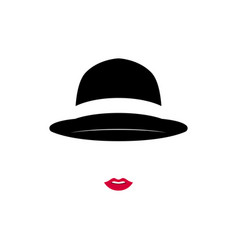 beautiful lady wearing vintage hat on white vector image vector image