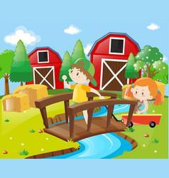 boy and girl in the farmyard vector image vector image