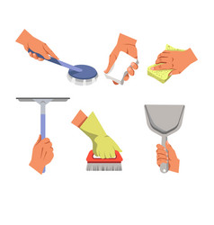 hands holding different tools for cleaning on vector image vector image