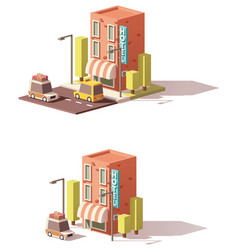 low poly hotel icon vector image