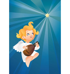 luteist angel musician flying on a night sky vector image vector image