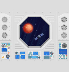 planet and satellite through modern spaceship vector image vector image