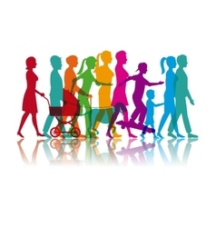 set colored people walking and skate vector image