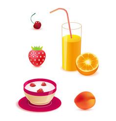 set of healthy food breakfast vector image