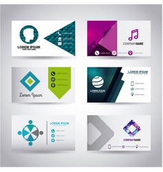 Set of glossy business cards royalty free vector image set of themed business card presentation templates vector image reheart Choice Image