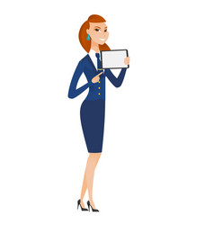 smiling stewardess holding tablet computer vector image vector image