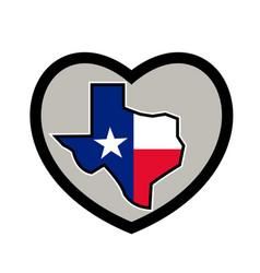 texas flag map inside heart icon vector image vector image