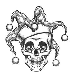 the skull in joker cap vector image vector image