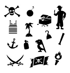 black pirates icons set on gray background vector image vector image