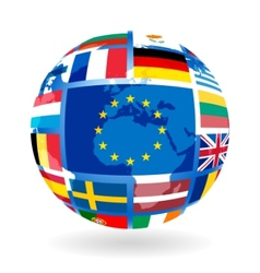 flags of eu countries on globe vector image