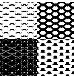 Hipster Seamless Pattern Set vector image vector image