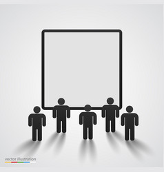 people silhouette against blank screen vector image vector image