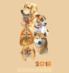 postcard with dogs of different breeds-3 vector image