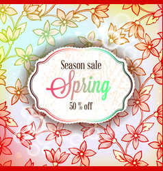 Spring sale season banner or flyer with colorful vector