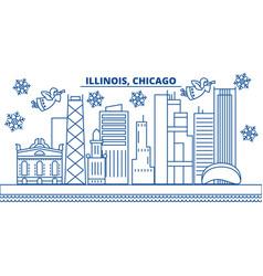usa illinois chicago winter city skyline merry vector image vector image