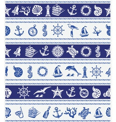 Borders with Nautical and sea symbols vector image vector image