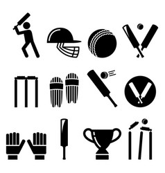 cricket bat man playing cricket equipment vector image