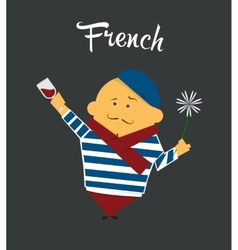 French man cartoon character citizen France in vector image