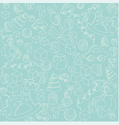 kids toys silhouette seamless pattern vector image