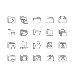 Line Folder Icons vector image vector image
