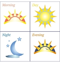 Morning day evening night icon set vector image vector image