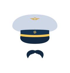 pilot aviator pilot hat and mustache vector image