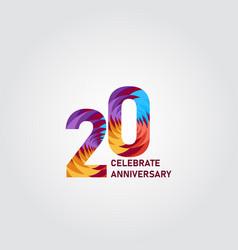 20 year anniversary elegant rainbow template vector